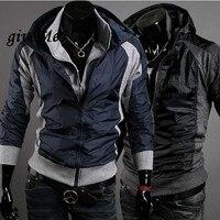 2017 Yeni erkekler ceket Slim Fit Seksi Hoodies Palto Ceket Çift Fermuar Siyah M, L, XL, XXL 34