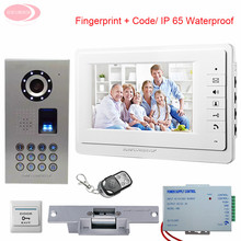 7inch Video Door Entry System Fingerprint Keypad IP65 Waterproof  Video Door Phone Intercom With Electronic lock System Unit Kit