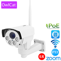 OwlCat SONY323 CMOS Wireless PoE Bullet PTZ IP Camera External Outdoor 5X Zoom 2.7 13.5mm 2MP WIFI IR Onvif SD Card Camera