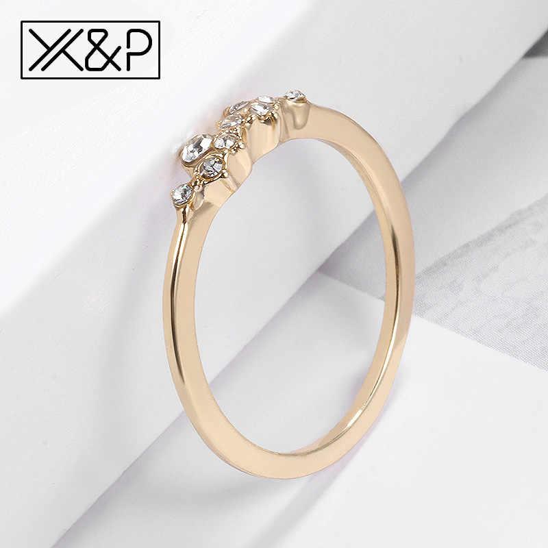 X & P Vàng Thời Trang Pha Lê Bạc cho Nữ, Nhẫn Nữ Cưới, Dễ Thương Đơn Giản Nhỏ Gọn Nhẹ Nhẫn Nữ 2018 Trang Sức quà Tặng
