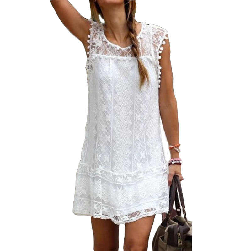 2019 women Summer Dress tassel Casual Women Clothes Short plus size Comfortable Short O-Neck Tassel Lace Dress Vestidos DY002