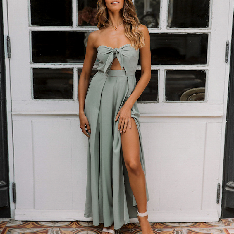Conmoto Wide Leg Crop Bow Split Sexy Rompers Women   Jumpsuit   Summer 2019 Strapless   Jumpsuits   Romper Solid Green Beach Long Romper
