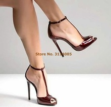 Women Stiletto Heels Wine Red T-strap Pumps Burgundy Patent Leather Open Toe T-bar Wedding Shoes Covered Heel Ankle Strap Shoes chic silvery pu t strap buckle style heels glittering crystal decorated pointy stiletto heel pumps gorgeous wedding glass shoes
