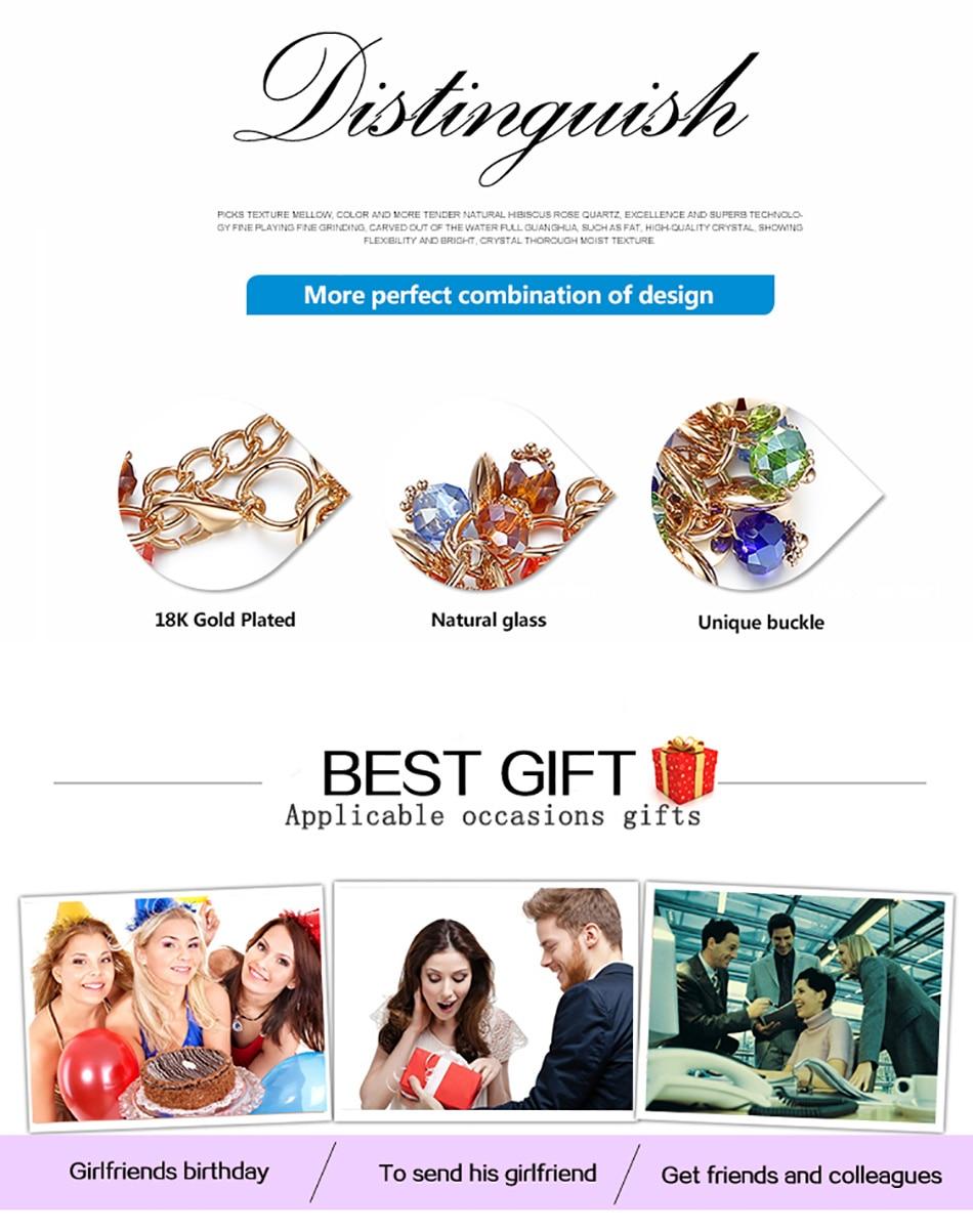 BELAWANG 18 Fashion Charm Bracelets & Bangles Fashion Crystal Stone Gold Bracelet For Women Friendship Bracelets Femme Jewelry 6