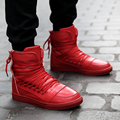 SOUGEN New Men Casual Shoes Red PU Leather Men High Top Shoes Lace-Up Breathable Mens Hip Hop Shoes Black White Size 39-44