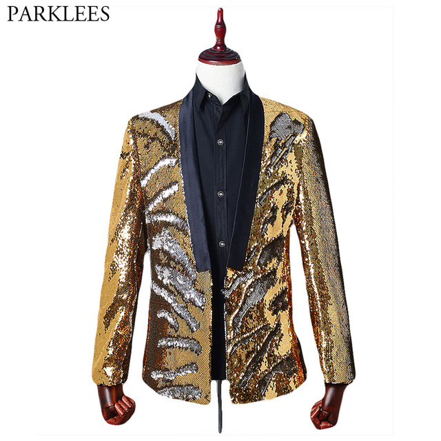 Mens Shiny Gold Flipping Sequin Dress Blazers DJ Nightclub Stage Host Glittering  Suit Jacket Men Prom Host Banquet Blazer Hombre 586ef9b99d5b