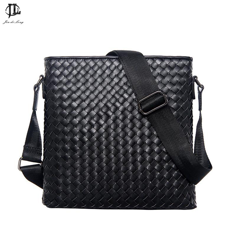 New Men Genuine Leather Briefcase Computer Laptop Bag Brands Business Weave Messenger Portfolios Daily Handbag Travel Bags