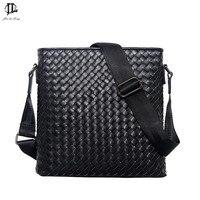 New Men Genuine Leather Briefcase Computer Laptop Bag Brands Business Weave Messenger Portfolios Daily Handbag Travel
