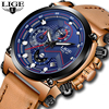 Relojes Hombre LIGE Mens Watches Top Brand Luxury Casual Sports Quartz Watch Men Leather Military Luminous