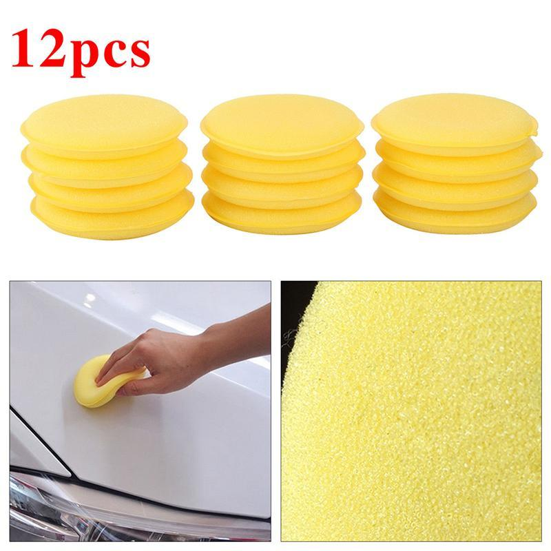 12Pcs 10CM Yellow Waxing Polish Wax Foam Sponge Applicator Pads Cars Vehicle Glass Clean