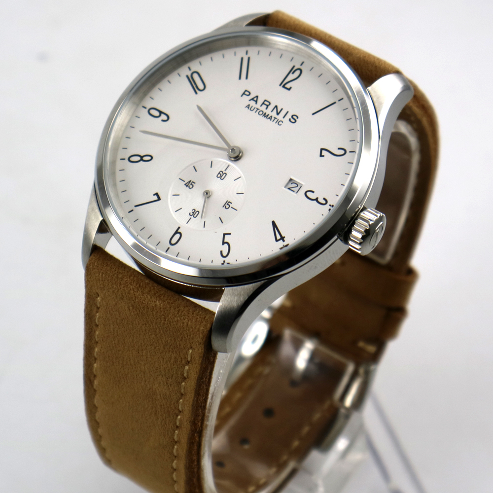 new 42mm parnis white dial date window ST 1731 automatic mens watch цена и фото
