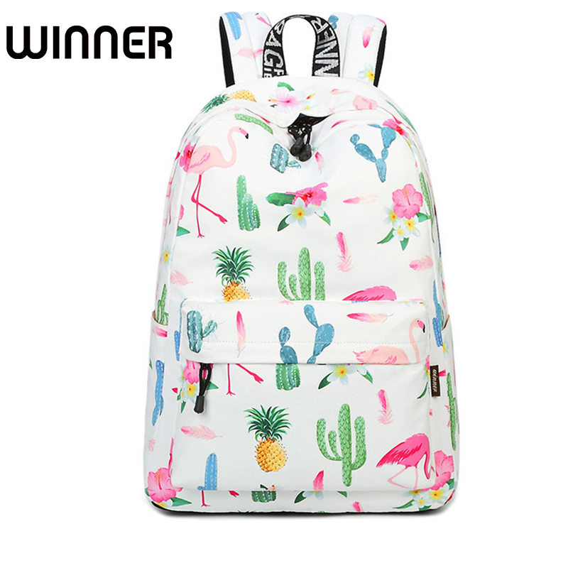 Preppy Style 15.6 Inch Waterproof Women Backpack Flamingo Plant Pattern Printing Large Capacity Female Knapsack fashion 15 6 inch waterproof fabric women backpack pink cute sushi cuisine pattern printing large capacity girls bookbags