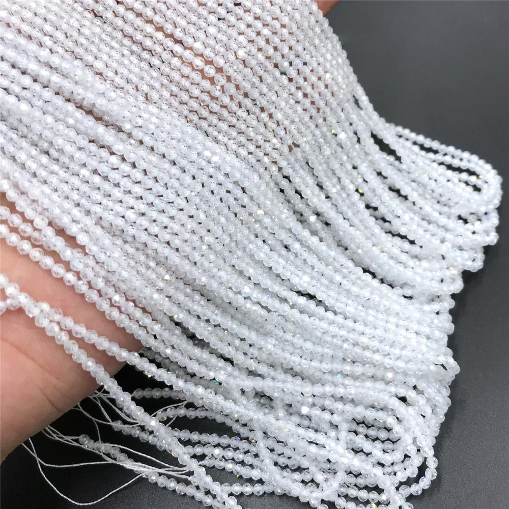 2 3mm Transparent Zircon Beads Natural Small Stone Beads Tiny White Zircon Beads Round Small Loose Beads Quartz Crystal Gem Bead