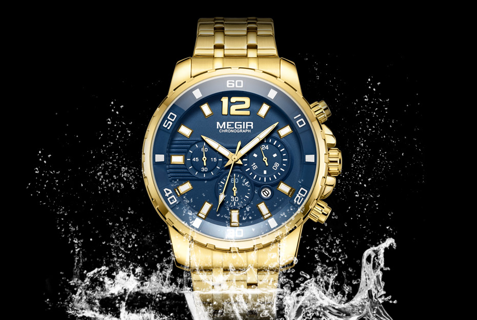 HTB1gmGoaGQoBKNjSZJnq6yw9VXaH Megir Men's Gold Stainless Steel Quartz Watches Business Chronograph Analgue Wristwatch for Man Waterproof Luminous 2068GGD-2N3
