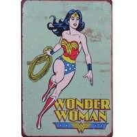 WONDER WOMAN Retro película estrella Metal decoración placa lata Vintage dibujos animados señal animación cine película cartel hogar pared 20x30cm