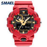 5 Meters Waterproof Swim Dress LED Men Watches SMAEL Brand Fashion Red Watches Outdoor Sports Male