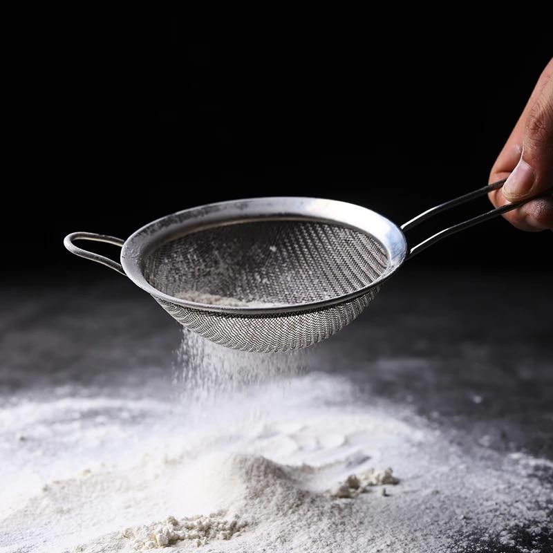Stainless Fine Mesh Oil Flour Sifter Strainer Colander Sieve Oil Filter Utensil