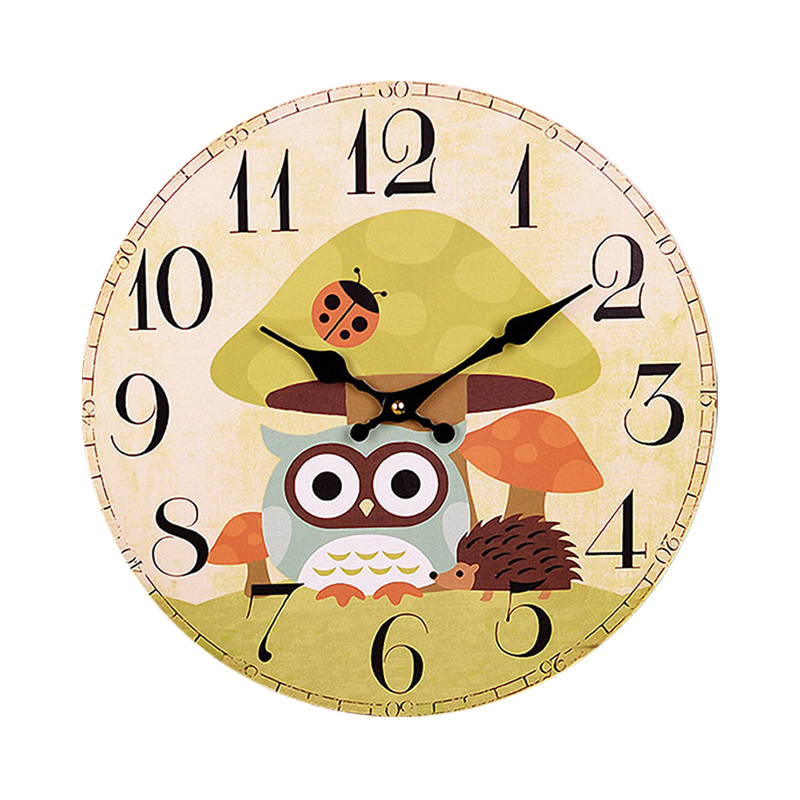 Silence Cartoon Wall Clock Cute Owl Elephant Animal Clock Wall ...