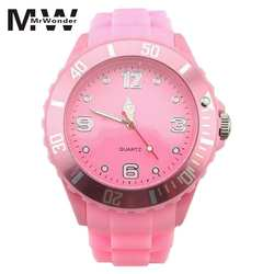 Mrwonder дети желе конфеты Силиконовые часы 2018 Мода студенты красочный лицо Кварцевый Подарок детская циферблат наручные часы SAN0
