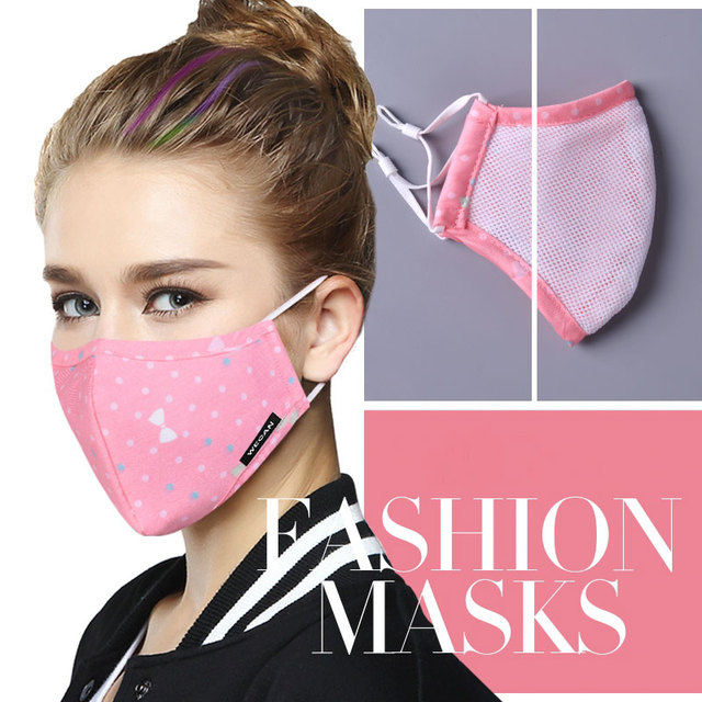 Cotton PM2.5 Anti Haze Face Mask Anti dust mouth mask mascaras Activated Carbon Filter Mouth-muffle Fabric Mask with 2pcs Filter 2