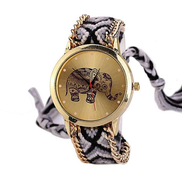 Zegarek damski GENEVA słoń bransoletka przyjaźni ręcznie robiona wzory0
