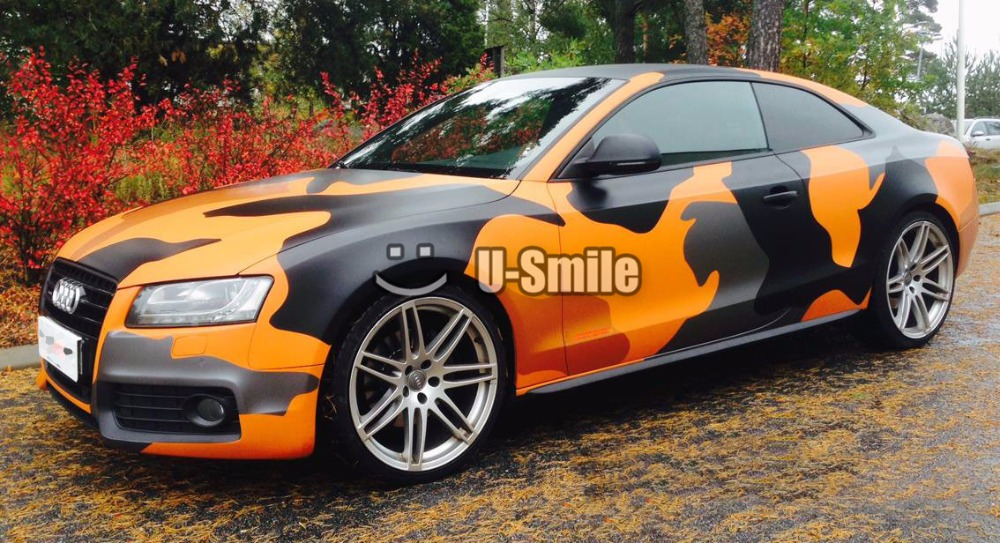 Jumbo Orange Camo Car Vinyl Wrap Film Bubble Free For SUV TRUCK Jeep