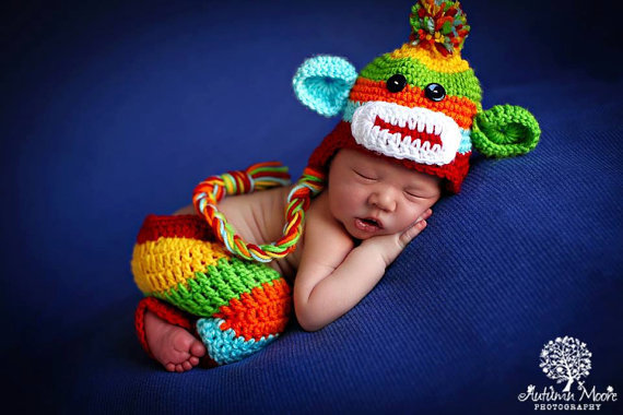 Handmade Baby Boy Hat   Pant Set Newborn Baby Boy Colorful Crochet knit  Sock Monkey Hat With Ear Flaps Photography Prop 3faced92d090