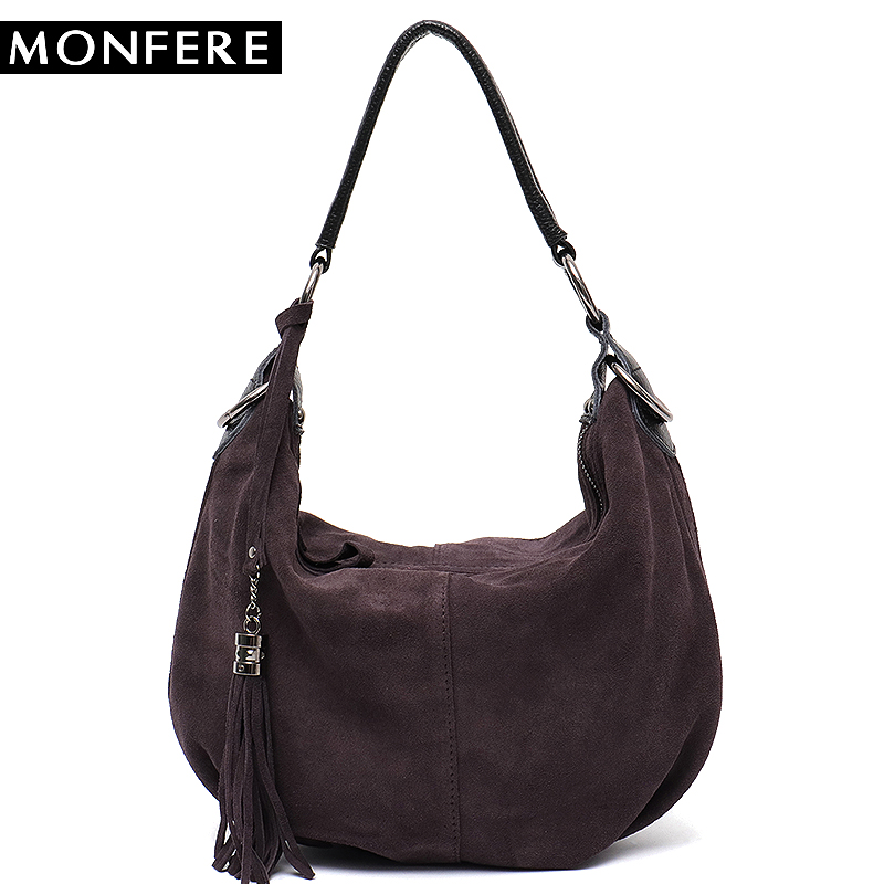 MONFERE Women Real Split Suede Leather Shoulder Bag Female Pillow Leisure  Nubbuck Casual Handbag Hobo Messenger Top-handle bags 9cc8db527ba58