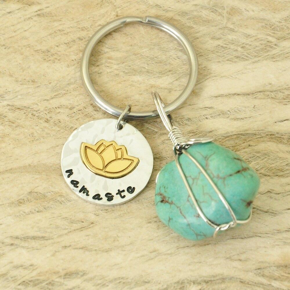 Personalisierte Lotus Keychain Yoga Schlüsselanhänger Spirituelle Quarz Schlüsselbund Namaste Keychain