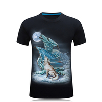 Free Shipping 2017 Summer Mens 3D Tshirt O Neck Short Sleeve Animal T Shirt Dragon Wolf