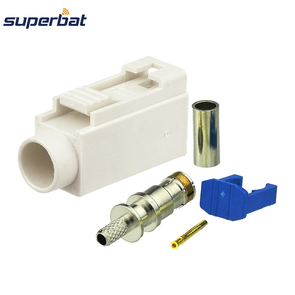 Superbat Car Radio With Phantom Antenna Connector Fakra B White/9001 Jack Female Crimp For RF Coaxial Cable RG316 RG174 LMR100
