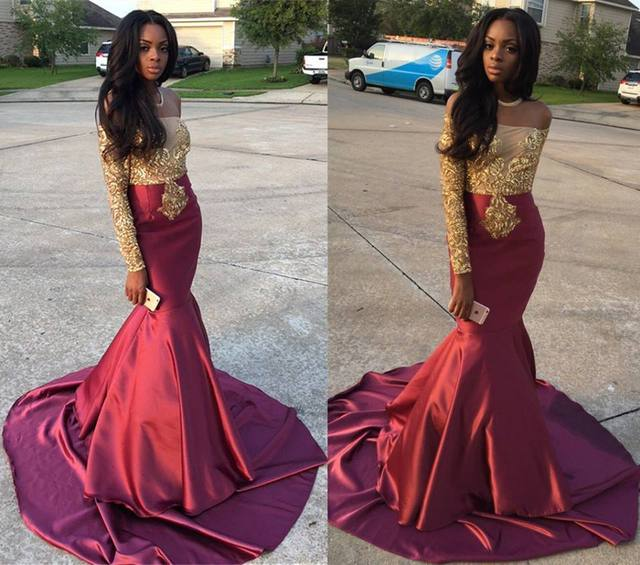 bd7bd8a45207 Royal Wine Red Long Sleeves Mermaid Prom Dresses 2017 Golden Appliques  vestido de festa Beading Sheer Evening Dress Satin M674