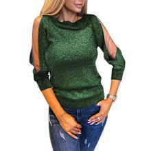 Прозрачная сетчатая Лоскутная футболка с длинным рукавом и круглым вырезом Женская Блестящая Однотонная футболка