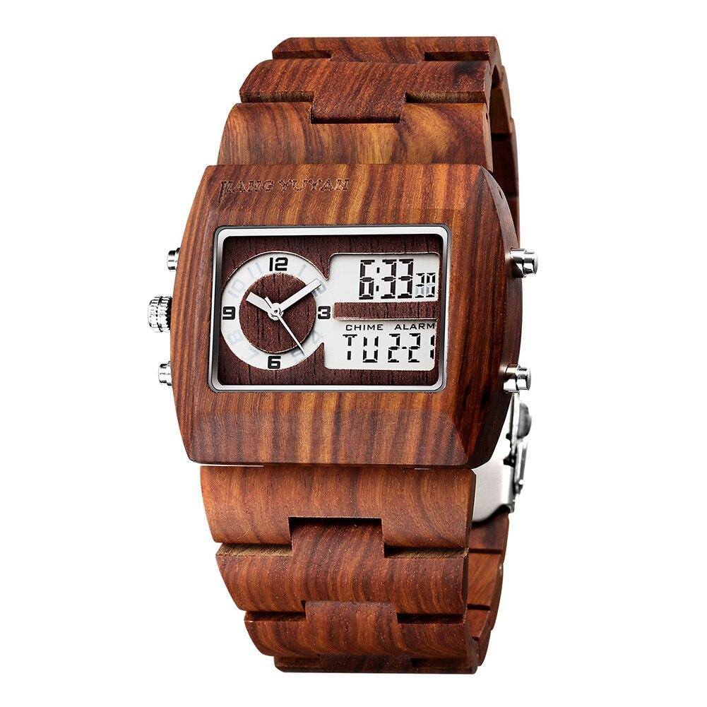 Montres hommes avec calendrier cadran carré aiguilles lumineuses haut de gamme bois de santal montre de luxe horloge en bois cadeaux pour hommes 3918