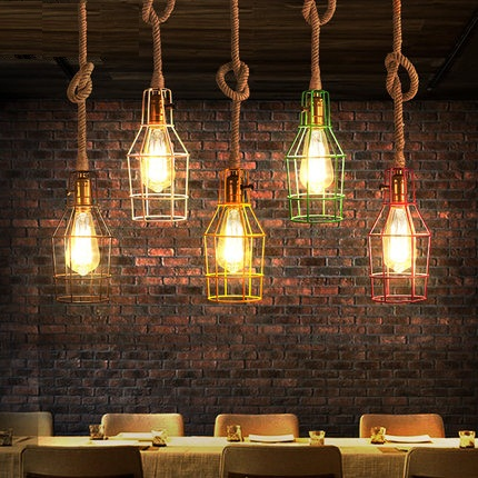 American Edison Loft Style Rope Retro Pendant Light Fixtures For Dining Room Iron Hanging Lamp Vintage Industrial Lighting iron cage loft style creative led pendant lights fixtures vintage industrial lighting for dining room suspension luminaire