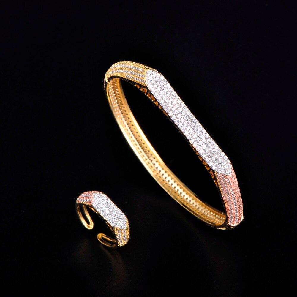 MECHOSEN Classic Wide Bangle Ring Set Geometric Zircon Copper Irregular Accessories For Women Engagement Bride Wedding Ornaments