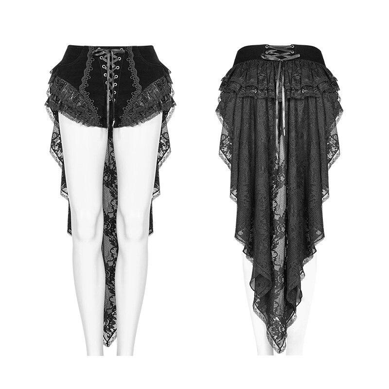 PUNK RAVEwomen gótico pantalones cortos de cola de golondrina pantalones cortos Retro de moda cordones victoriana Sexy Palace Steage rendimiento pantalones cortos - 5