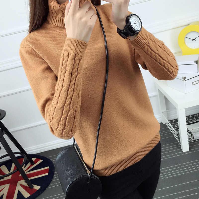 2018 Nieuwe winter jurk Koreaanse Coltrui mouw vrouwelijke twist hoofd verdikte slanke slanke trui