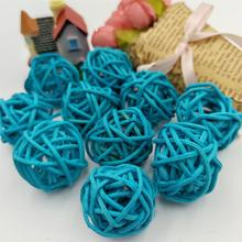 10pcs 3cm Dark Blue Rattan Ball Sepak Takraw for led Lights Garland For Hotel Bar Party/Wedding Room Decor Supplies