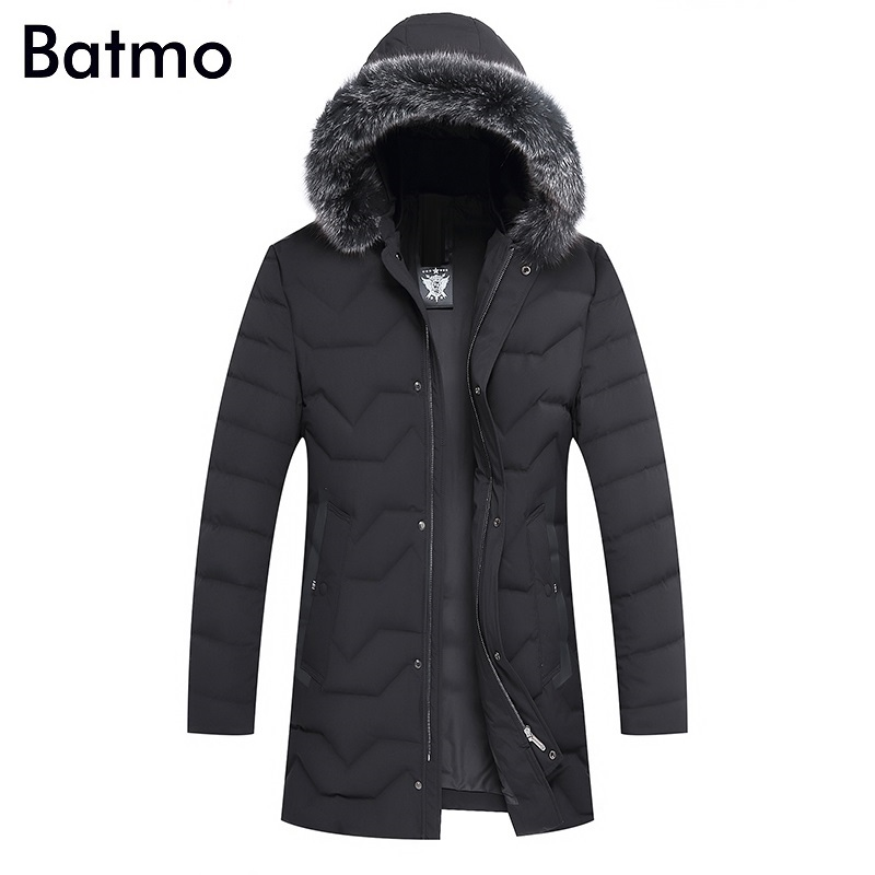 Batmo 2017 new arrival winter high quality 90% white duck down fox fur collar hooded long jacket men,winter mens coat 7605