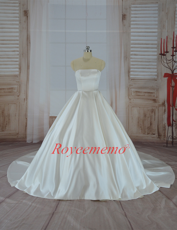 Vestido de Noiva satin wedding dress with jacket big train wedding ...