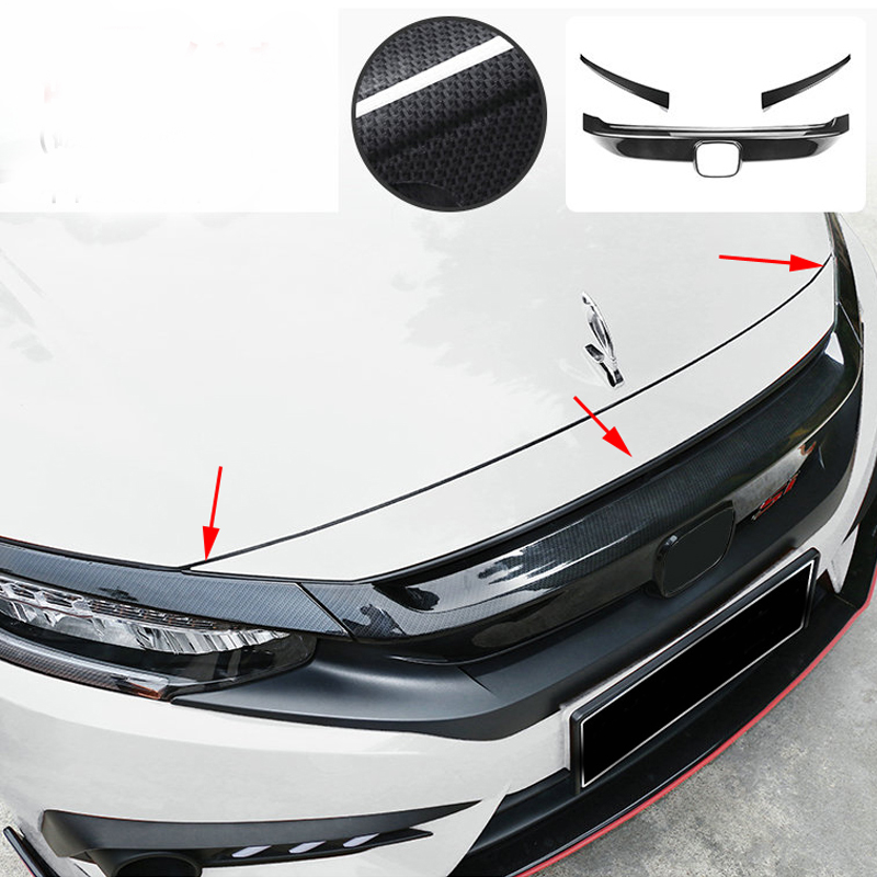 High Quality Black Brightness Carbon Fiber Grille Decoration 2016 2017 FOR Honda Civic grille trim headlight eyebrow image