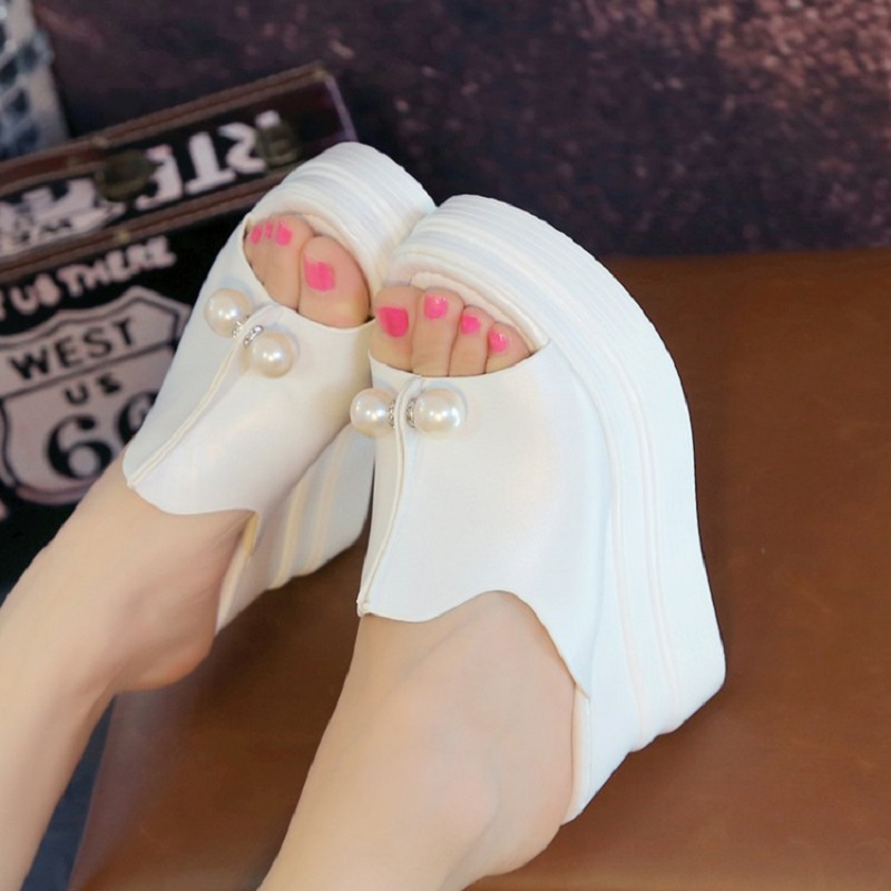 2016 Women Sandals Open Toe Pearl Summer Women Shoes Peep Toe Wedge Platform High Heel Sandals Thick Heel Trifle Shoe White Pink