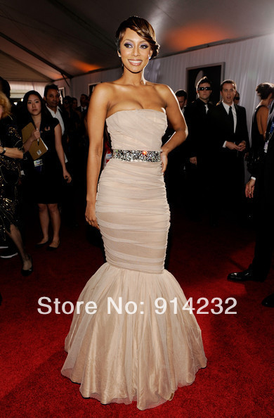 Custom Celebrity Dresses Keri Hilson Dress Champagne Waist Beaded Ball Gown