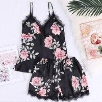 Для женщин сна Lounge пижамный комплект атласная одежда для сна летние цветочные с груди Pad пикантные