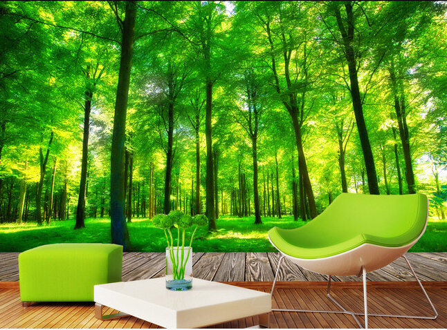 custom 3d photo wallpaper 3d stereoscopic green forest mural for living room bedroom tv. Black Bedroom Furniture Sets. Home Design Ideas