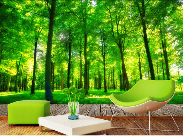 Custom 3d Photo Wallpaper 3d Stereoscopic Green Forest