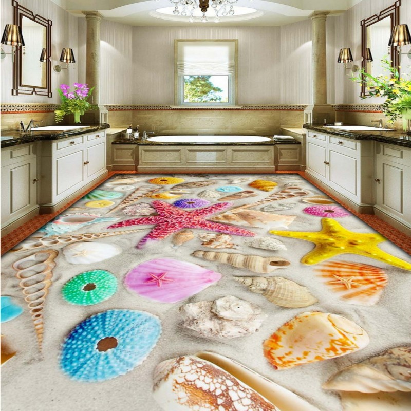 Free Shipping Custom Bathroom bedroom 3D stereo flooring wallpaper mural gorgeous sandy beach colorful starfish Floor stickers free shipping custom 3d stereo gorgeous pearl shell flooring bedroom hotel store mall bathroom self adhesive wallpaper mural