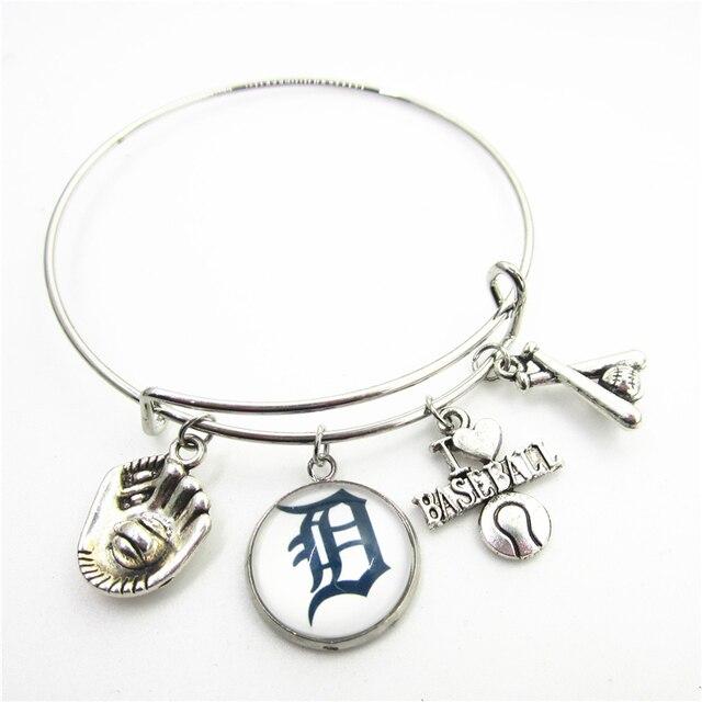 Hot Ing 10pcs Usa Detroit Tigers Baseball Sports Bracelet Jewelry Expandable Adjule Wire Hook Bangles