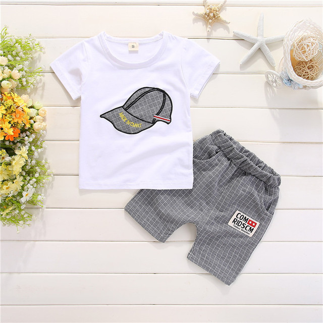 Newborn cap style white t-shirt+short 2pcs set 1
